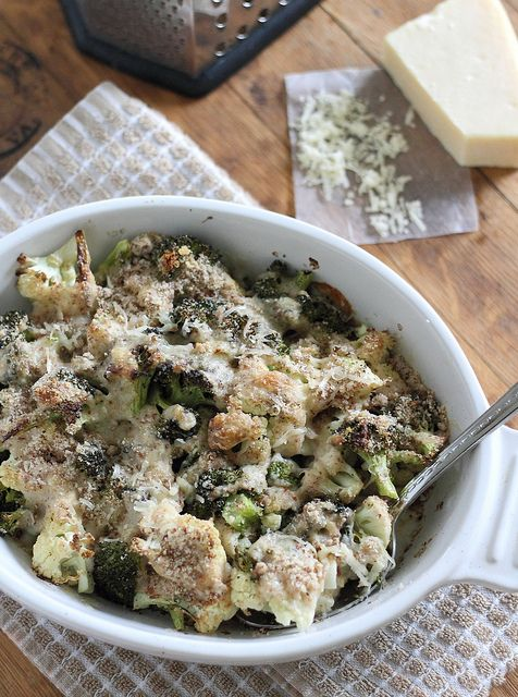 Roasted broccoli cauliflower parmesan gratin | Recipe