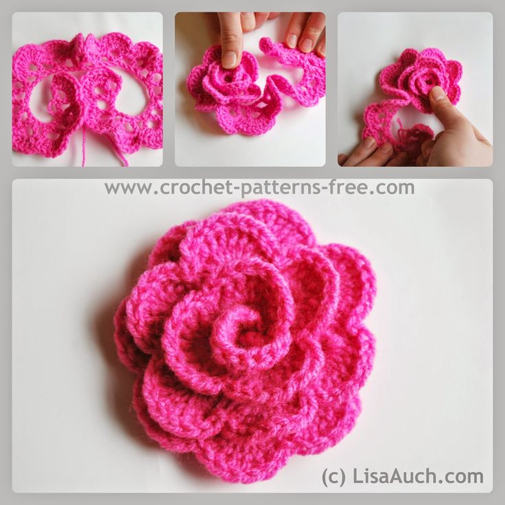 Free Crochet Patterns And Designs By Lisaauch : How to Crochet a flower - Crochet a rose FLORES Pinterest
