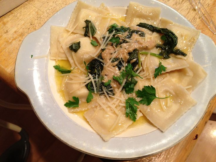 Cheese ravioli's in a buttery sage and spinach sauce. Cheese ravioli'...