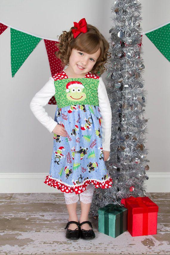 Christmas knot dress girls christmas dress holiday dress embroi
