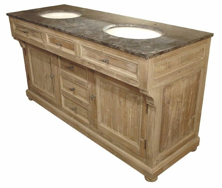 bathroom vanity cabinet sink double old pine blue stone