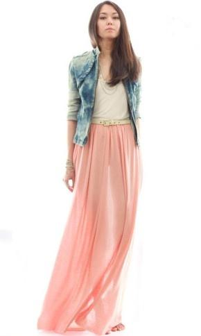 peach maxi + denim jacket