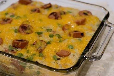 corn dog casserole!! looks strangely delicious!! think I might sub ...