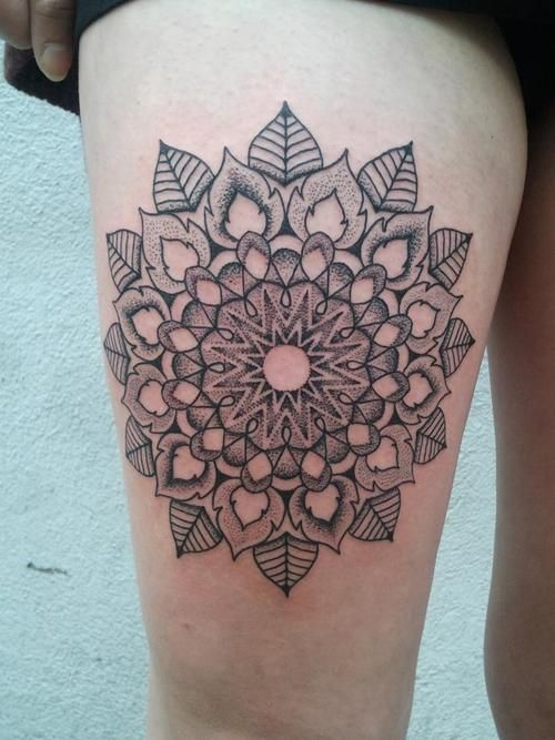 geometric flower tattoo color - photo #42