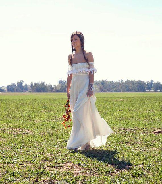 Bohemian Wedding Dress Off The Shoulder Cream Lace 70