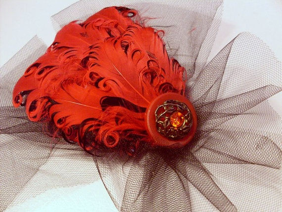 Red Feather Fascinator Weddings lapel pin brooch by angel9 on Etsy, $26.00
