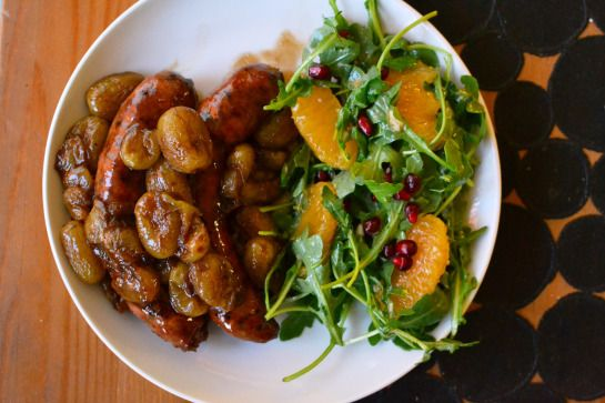 Ina Garten's Roasted Sausages with Grapes and Arugula Salad with ...