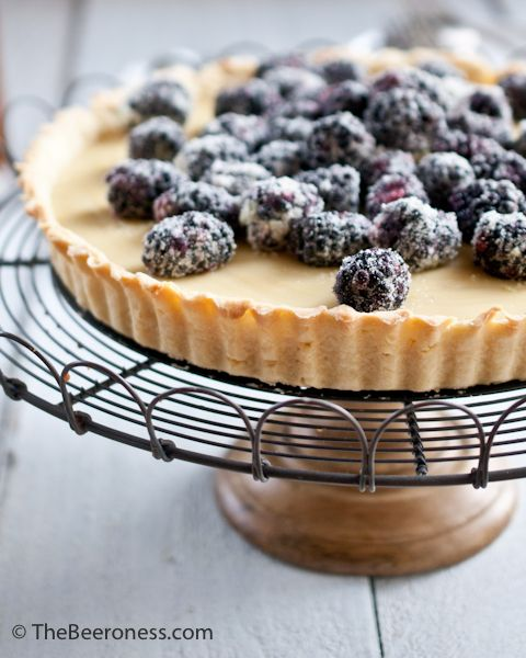 Lime Sugared Blackberry and Coconut Pale Ale Pastry Cream Tart