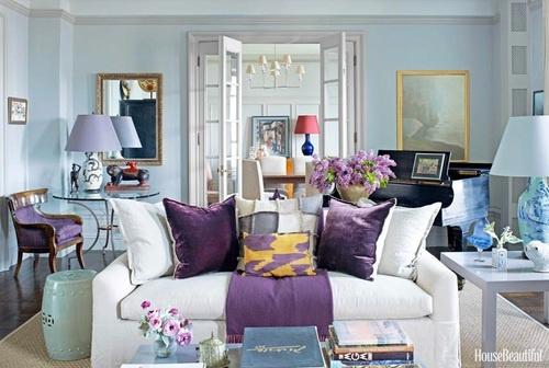 Purple blue white living room home sweet home pinterest