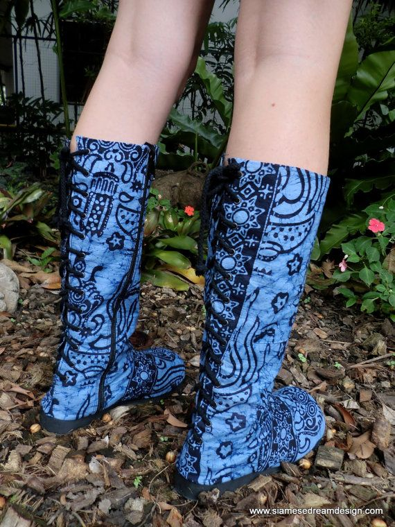 Vegan Womens Moccasin Boots,Bright Blue Balinese Batik Lace up Back