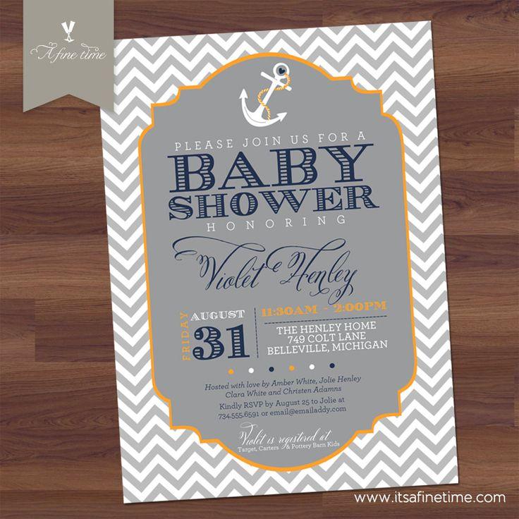baby boy shower invitation chevron nautical theme whimsical