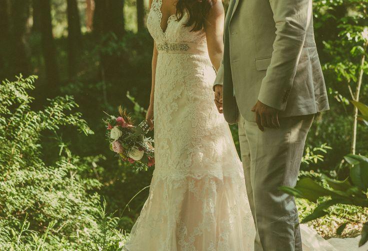 Rustic wedding sunset wedding trees lace wedding dress long