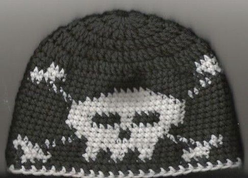 Free Crochet Pattern For Skull Beanie : Free gothic crochet pattern: Skull and Crossbone Beanie ...