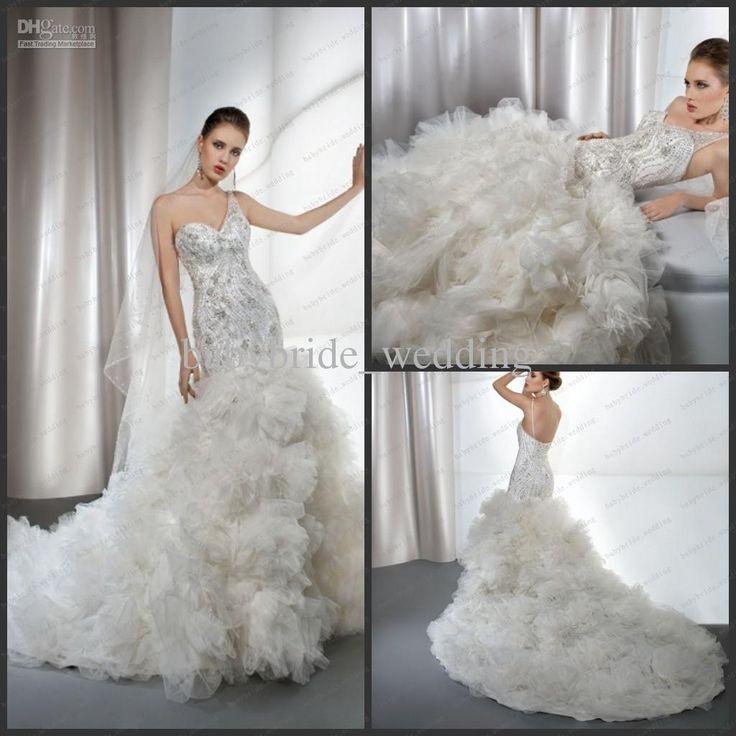 Wholesale Demetrios Wedding Dresses : Mermaid wedding dress ruffled skirt one shoulder tulle dresses