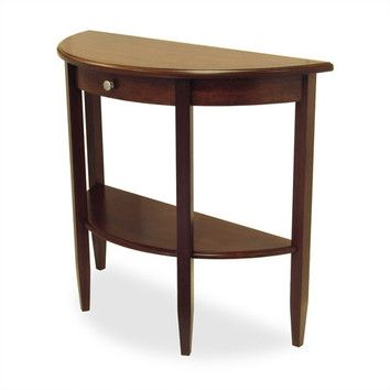 Winsome walnut half moon console table for 10 inch depth console table