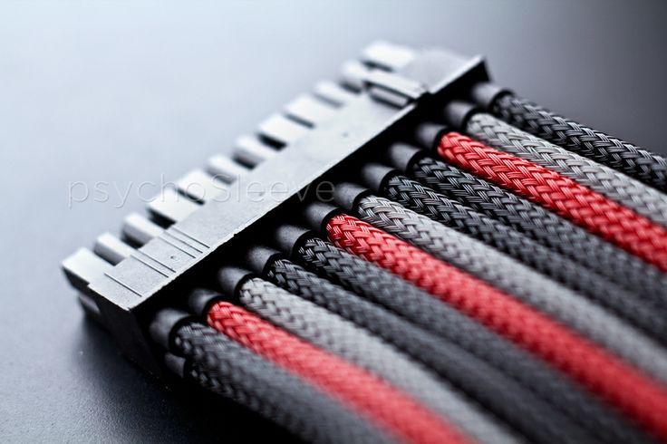 Cable sleeving: red/gray/black | PC Master Race Inspiration | Pintere