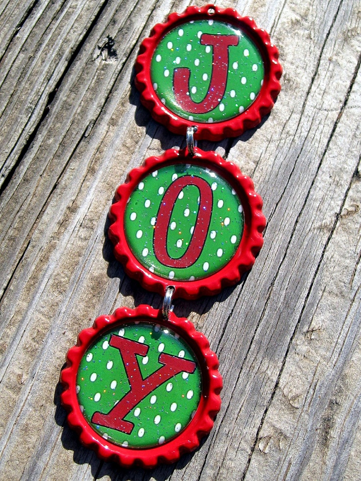 joy bottle cap ornament handmade personalized christmas