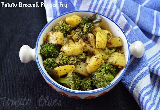Broccoli Potato Pepper Fry- Vegan, Simple And Quick