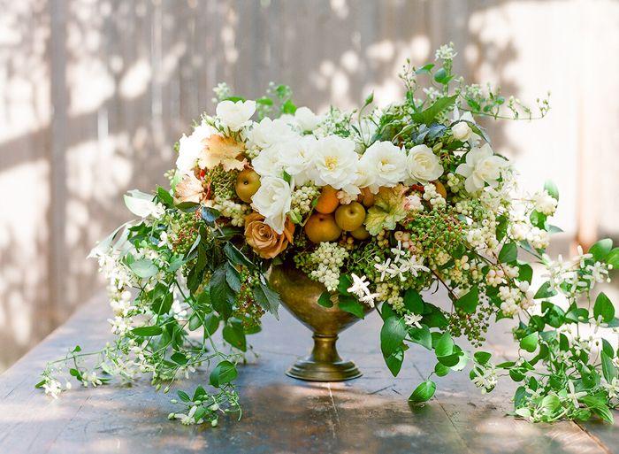 Romantic Flower Fruit And Foliage Wedding Centerpiece With Garden