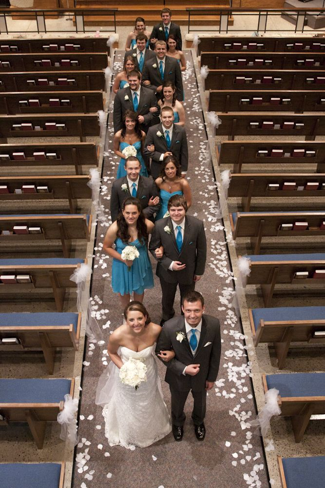 bridal party from above