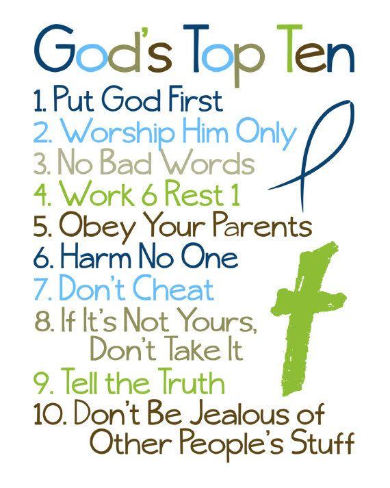 Christian Wall Art. Ten Commandments. Bible Verse. God's ...
