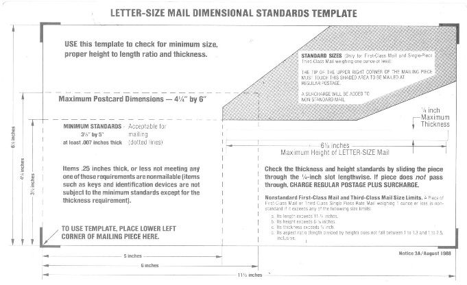 USPS Letter size mail dimensional standards template Use the template ...