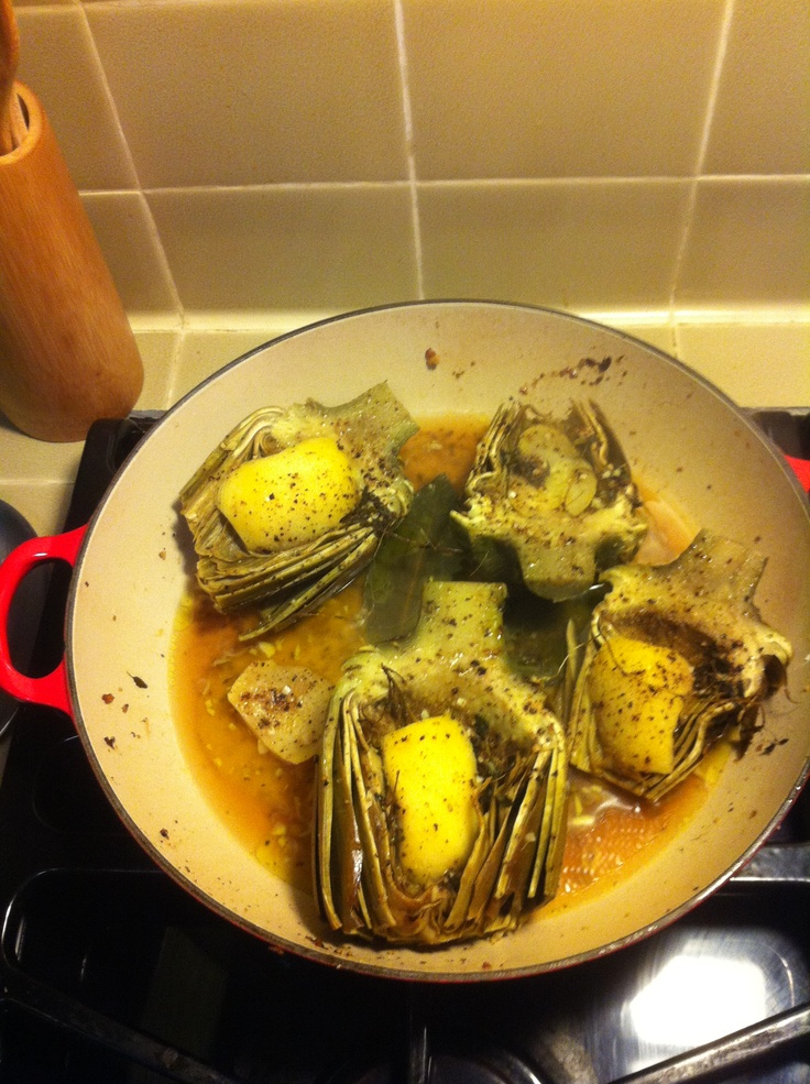 Braised Artichokes with lemon and thyme made in my Le Creuset with a ...