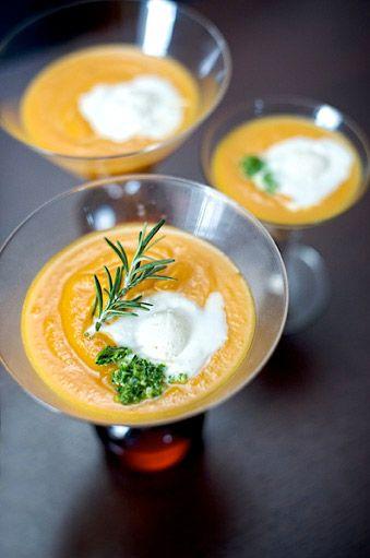 Rosemary Pumpkin Soup with Saffron Ice Cream and Winter Pesto