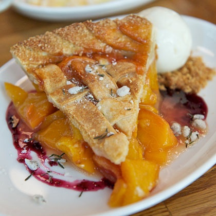 ... *The Dutch: Peach Pie With Candied Thyme and Lemon-Buttermilk Sherbet