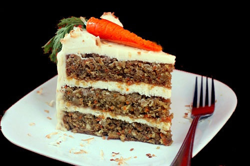 Banana - Ginger Carrot Cake with Coconut Cream Cheese Frosting