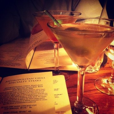Extra dirty martini with blue cheese stuffed olives