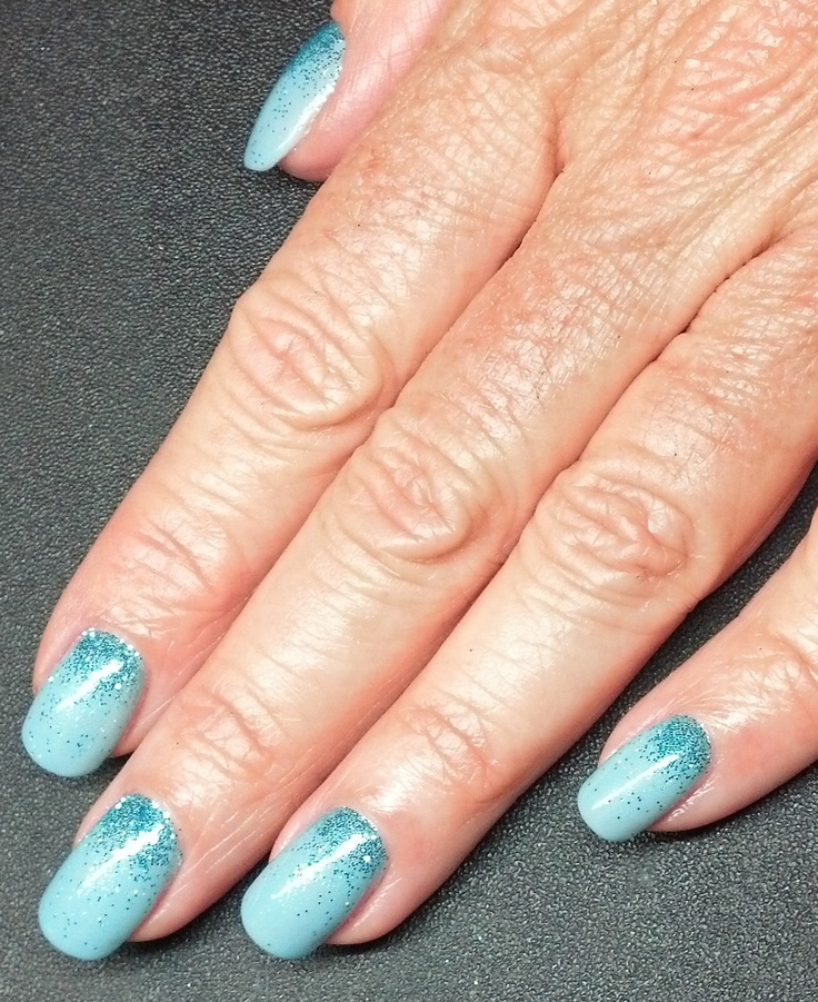 Natural nails with Liquid & Powder overlay and CND Shellac Azure Wish