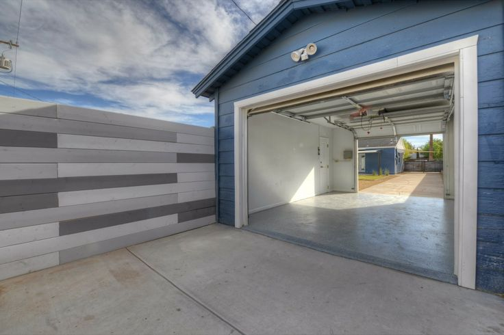 Garage with front and back garage doors backyard for Front and back doors
