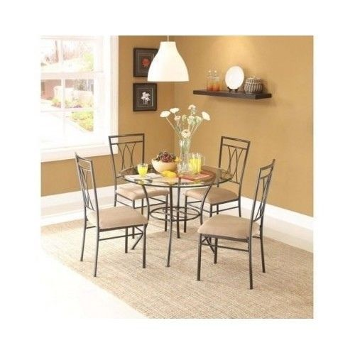 Modern 5 Piece Metal Glass Table Dining Room Set Round Top Seats Kitc