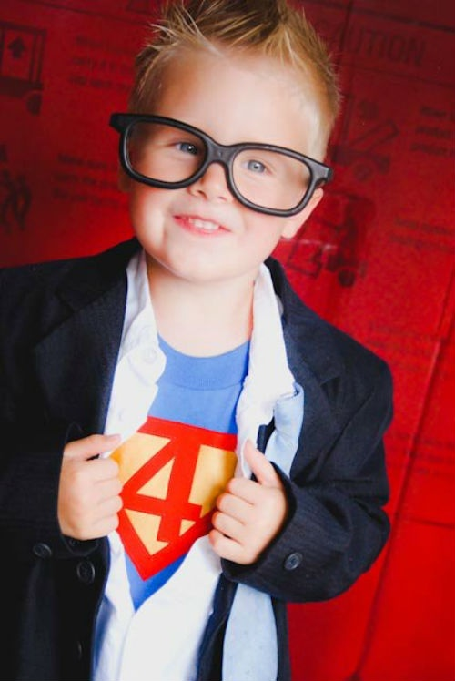 Cool photo prop idea if your kids are Superman-oriented (we are a Batman-oriented household, but everyone agreed that this was pretty cute!).