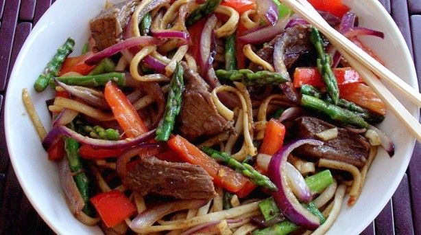 Spicy Beef, Pepper & Asparagus with Udon Noodles. Can't wait to try ...