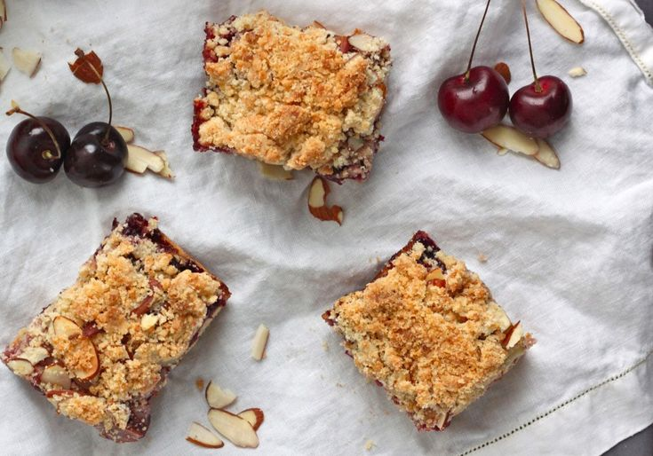 Cherry Almond Crumb Bars - The Corner Kitchen