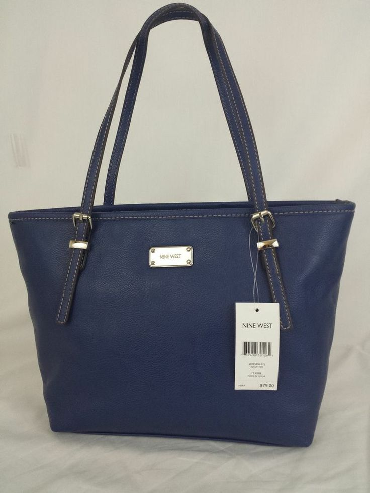 NINE WEST It Girl Tote Handbag Purse Blue Small MRSP 79.00