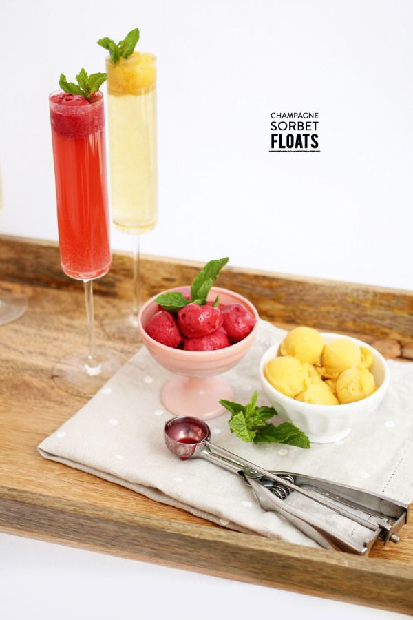 Champagne Sorbet Floats: Sorbet, Champagne, Fresh Mint