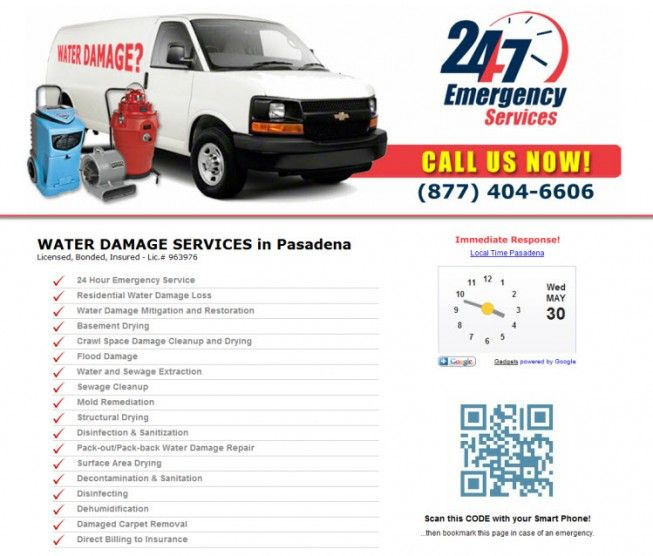 Toll FREE: (877) 404-6606 - 24/7 Emergency Water Damage and Flood Cleanup Services Now Available in Pasadena, California