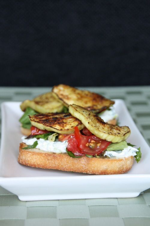 ... eggplant sandwiches with an herbed goat cheese spread and tomatoes
