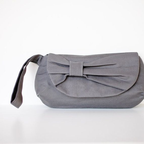charcoal bow clutch purse (by brighter day) via emmaline bride | the marketplace