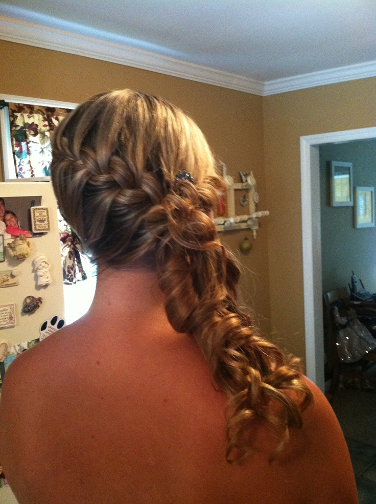 Swept to one side: braids and curls!   Ashley Wedding!   Pinterest