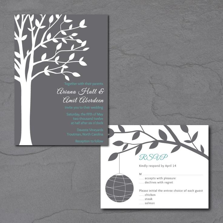tree wedding invitation printable wedding invite with paper lantern - Lantern Wedding Invitations
