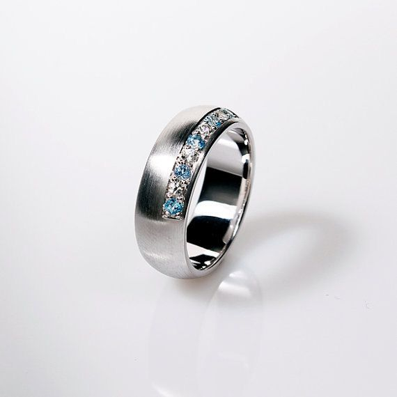 Men's aquamarine and white sapphire wedding ring made from white gold ...