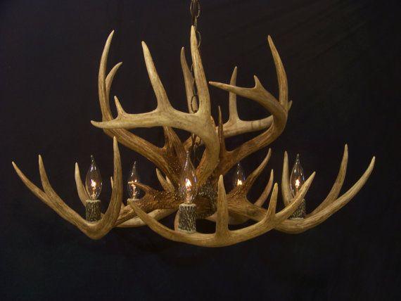 antler whitetail deer antler chandelier light lamp fixture on etsy. Black Bedroom Furniture Sets. Home Design Ideas