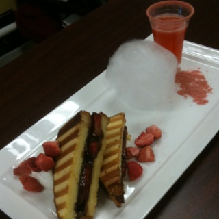 Strawberry & Nutella Pound Cake Panini, Frangelico Cream, Freeze-dried ...