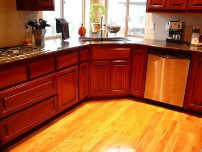 Cherry stained cabinets my house pinterest for Floors to match cherry cabinets