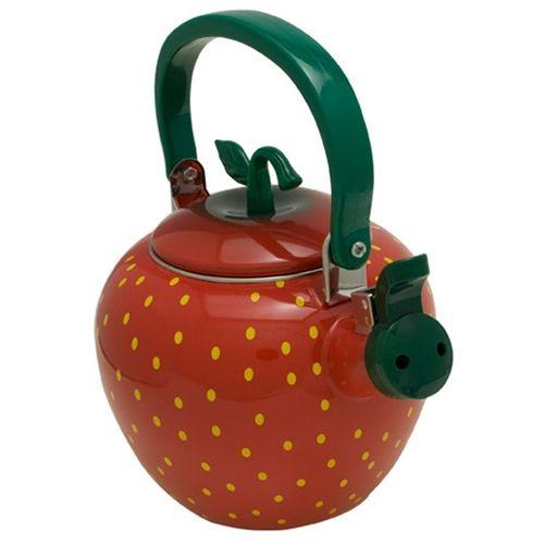 Novelty Tea Kettles ~ Strawberry novelty whistling tea kettle collection