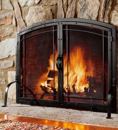 Fire Basket Behind Glass Doors